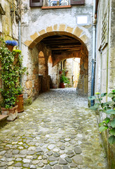 Fototapeta na wymiar Lovely colorful streets small town in Tuscany, Italy