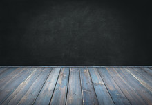 Blue Painted Wood Table With Dark Wall Background