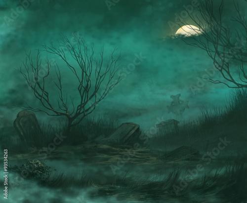 cemetery at night Wallpaper Mural