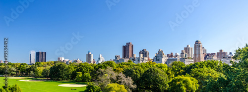 central park view to manhattan with park at sunny day, NewYork City, USA