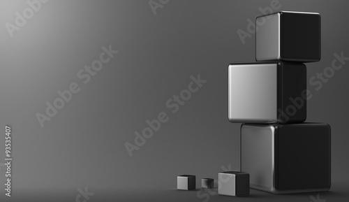 3d background metal cubes