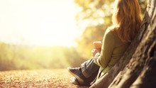 Autumn Concept, Anonymous Woman Enjoying Takeaway Coffee Cup On Sunny Cols Fall Day