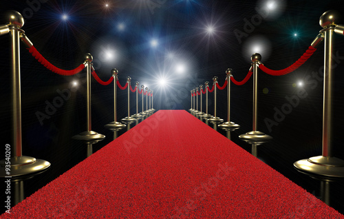 Red carpet and rope barrier Canvas Print