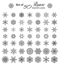 Vector Set Of 50 Linear Snowfl...