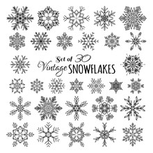 Vector Set Of 30 Vintage Snowflakes.