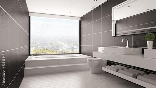 Foto  Minimalistisches Bad mit Badewanne