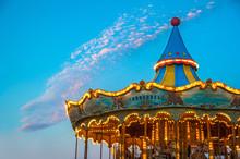 Carousel Up On Mount Tibidabo, Barcelona, Spain.