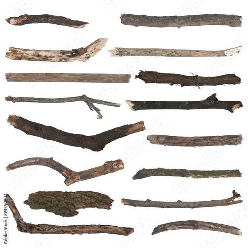 Foto op Plexiglas Indonesië set of old wooden branches isolated on white