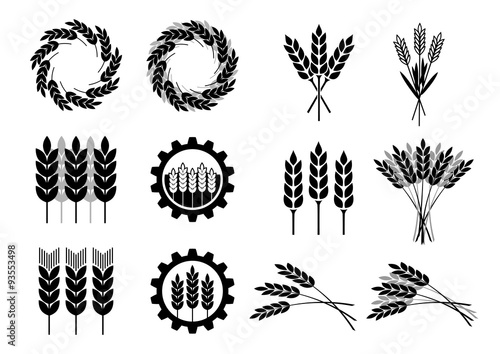 Tableau sur Toile Black cereal icons on white background