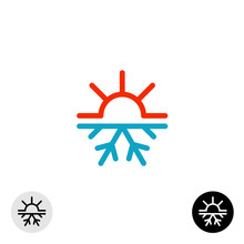 Hot And Cold Symbol. Sun And S...