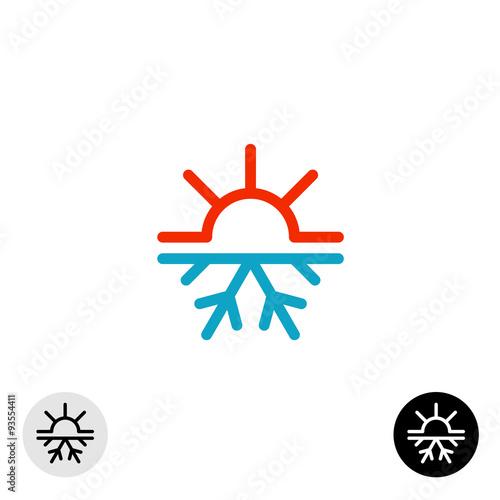 Fotografia, Obraz  Hot and cold symbol. Sun and snowflake all season concept logo.