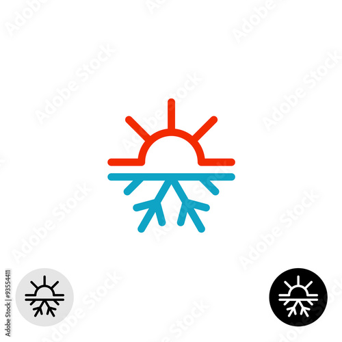 Fotografie, Obraz  Hot and cold symbol. Sun and snowflake all season concept logo.