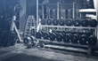 canvas print picture - Old gym interior with equipment