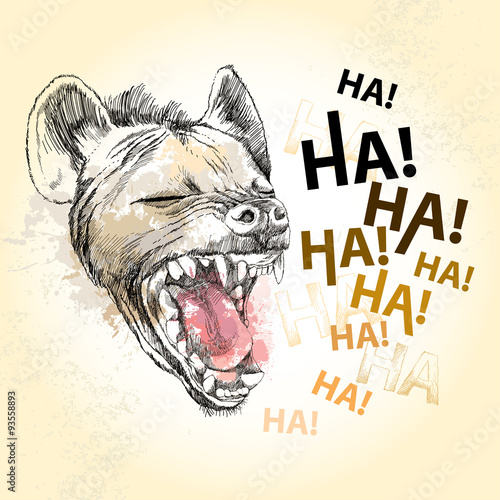 Head of laughing hyena on the textured beige background Fototapet