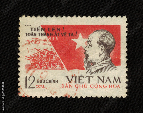 Fotografia  VIETNAM - CIRCA 1968: a stamp printed in Vietnam  with a portrait of the first P