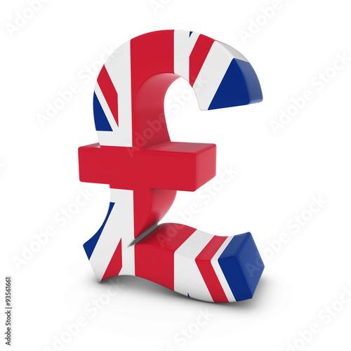 Obraz Pound Symbol textured with the United Kingdom Flag Isolated on White Background - fototapety do salonu