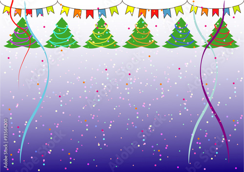 simple christmas background with christmas treesconfetti and flags