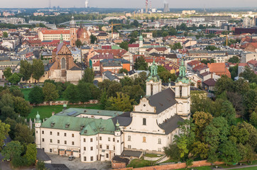 FototapetaDistrict of Kazimierz with several churches and pauline monastery, Krakow, Poland, aerial view