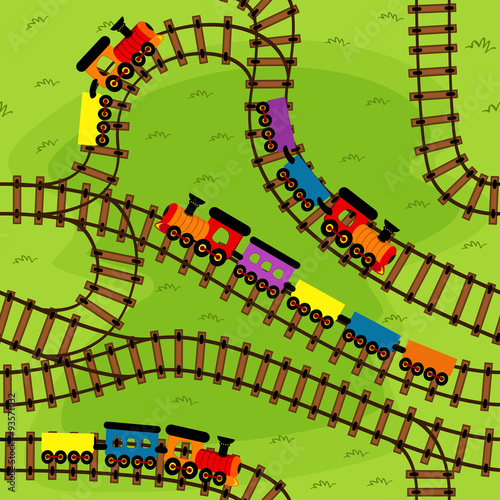 fototapeta na lodówkę seamless pattern railway with trains - vector illustration, eps