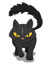 Happy Halloween Sign With Black Cat And Pumpkin, Vector Illustration