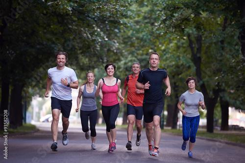 Poster Jogging people group jogging