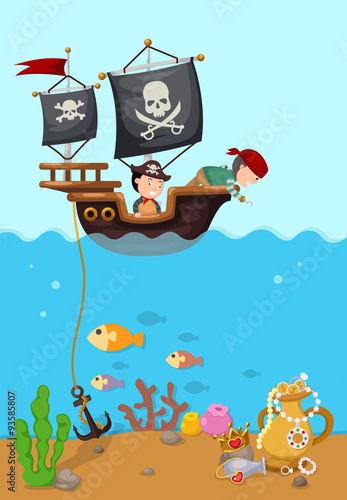 Photo  pirate ship beautiful landscape