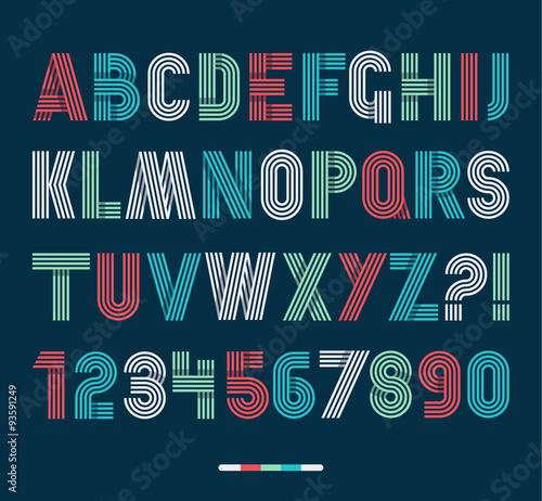 Obraz Retro stripes funky fonts set,trendy elegant retro style design. - fototapety do salonu