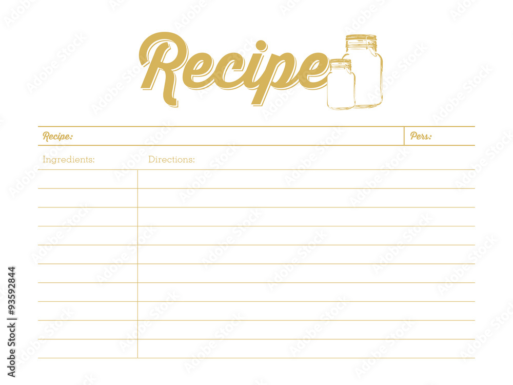 Fototapety, obrazy: Golden colored recipe card with mason jar. Template. Vector design.