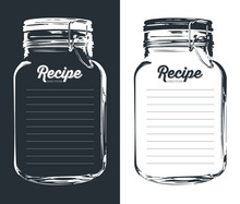 Mason Jar With Hook Recipe Card And Lines. Template. Vector Design.
