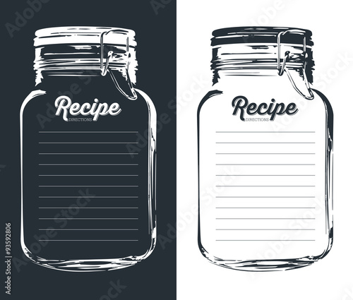 Fototapeta Mason jar with hook recipe card and lines. Template. Vector design.  obraz
