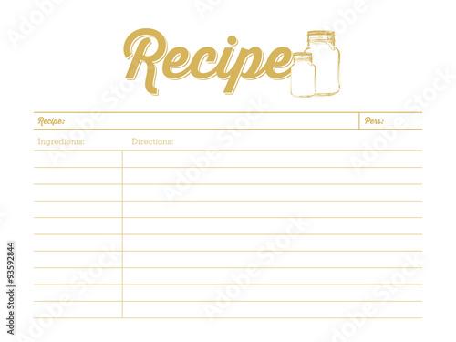 Cuadros en Lienzo Golden colored recipe card with mason jar