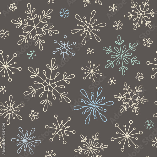 Cotton fabric Seamless pattern with snowflakes for Christmas, New Year and winter design