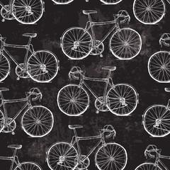 Tapeta Vintage Bicycles Seamless Pattern on Black Grunge Background