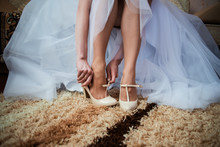 The Bride Getting Her Wedding Shoes On