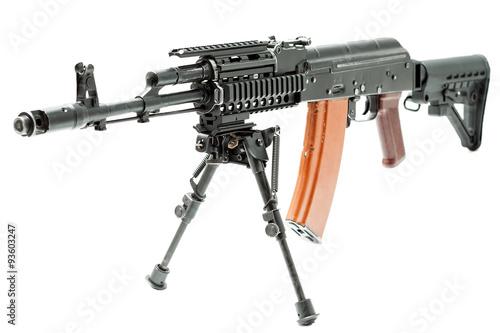 Poster  ak-47 machinegun with custom butt, reflex sight and bipod
