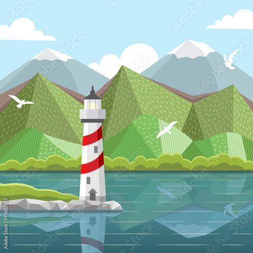 In de dag Groene koraal Vector sea landscape with lighthouse