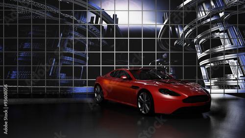 Samochód sportowy w studio przed ścianą wideo