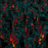 Nocne miasto poświata kreskówka / 3D render miasta nocą miasto oświetlone z ulic poniżej z kolorystyką stylu kreskówki - 93609422