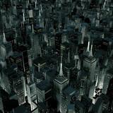 Blask miasta nocą / renderowanie 3D miasta nocą oświetlone z ulic poniżej - 93609439