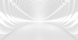 Fototapeta Perspektywa 3d - Sshining white tunnel interior. 3d illustration