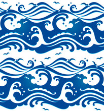 Seamless Stormy Ocean Waves Pattern