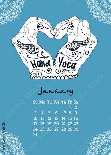 Calendar item with yoga mudra hands and drawing mehendi. Wallpaper Mural