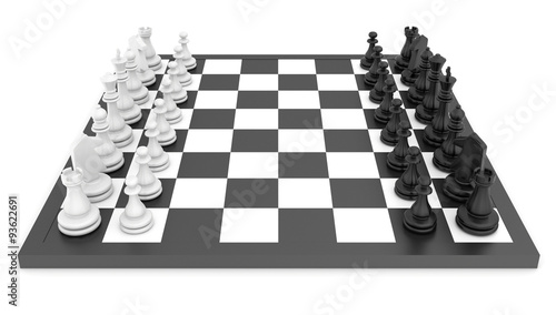 Fotografia Chess pieces standing on black white chessboard