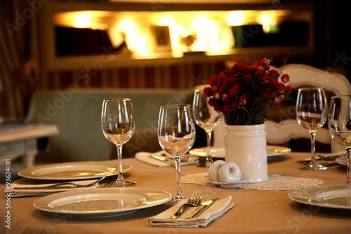 Fotobehang Restaurant table setting in restaurant close up