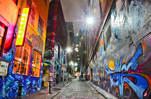 View of colorful graffiti artwork at Hosier Lane in Melbourne - 93625077