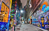 Fototapeta Młodzieżowe - View of colorful graffiti artwork at Hosier Lane in Melbourne