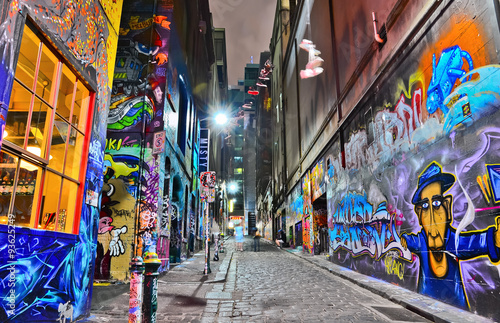 View of colorful graffiti artwork at Hosier Lane in Melbourne - 93625249