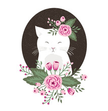 Hipster Kitty With Flowers On Vintage Textured Background, Cat Hand Drawn. Vector Illustration