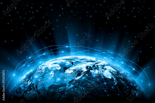 Best Internet Concept of global business. Globe, glowing lines #93628813