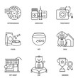 Veterinary medicine and pets vector icons set